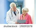 doctor shows female elderly... | Shutterstock . vector #198392078