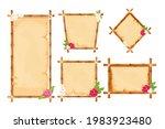 set hawaiian bamboo frames with ... | Shutterstock .eps vector #1983923480