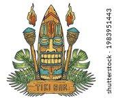 surfing tiki mask hawaii wooden ... | Shutterstock .eps vector #1983951443