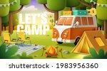 cute camper van  tent  bonfire... | Shutterstock .eps vector #1983956360