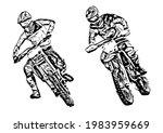 motocross jump silhouette...   Shutterstock .eps vector #1983959669
