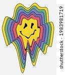 70s retro groovy melting smiley ... | Shutterstock .eps vector #1983981719
