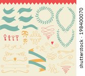 vector  romantic set with... | Shutterstock .eps vector #198400070