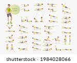 abs exercises.  fitness at home.... | Shutterstock .eps vector #1984028066