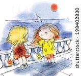 two cute girls on the seaside | Shutterstock .eps vector #198402830