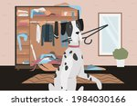 guilty naughty dog with bad... | Shutterstock .eps vector #1984030166