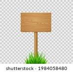 wooden board on post in green...   Shutterstock .eps vector #1984058480