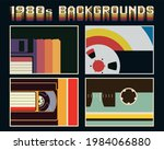 1980s background  floppy disc ... | Shutterstock .eps vector #1984066880