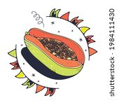 cute illustration with papaya.... | Shutterstock .eps vector #1984111430