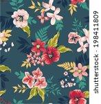 vintage seamless flower vector... | Shutterstock .eps vector #198411809
