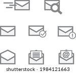 gray mail envelope icon set...