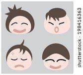 illustration cartoon boy faces ... | Shutterstock .eps vector #198416363