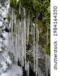 A Closeup Shot Of Icicles On A...
