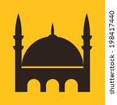 mosque icon on yellow background | Shutterstock .eps vector #198417440