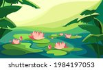 landscape with blooming lotuses....   Shutterstock .eps vector #1984197053