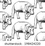 sketch hippo  vector vintage... | Shutterstock .eps vector #198424220