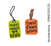 two luggage tags with travel...   Shutterstock .eps vector #1984253123