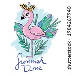 hand drawn cute flamingo with... | Shutterstock .eps vector #1984267940
