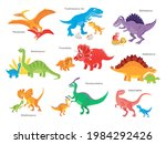 Vector cartoon dinosaur with baby isolated on white background.