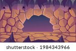 fantasy cave with spiders. exit ... | Shutterstock .eps vector #1984343966