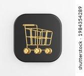 golden shopping cart on wheels...