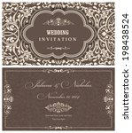 invitation cards in an old... | Shutterstock .eps vector #198438524