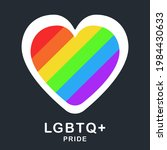 lgbtq  with heart pride flag or ...   Shutterstock .eps vector #1984430633