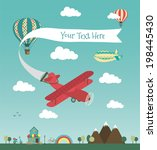 retro air plane banner design... | Shutterstock .eps vector #198445430
