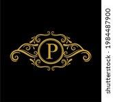 p initial letter luxury golden... | Shutterstock .eps vector #1984487900