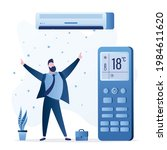 air conditioner cools air  big...   Shutterstock .eps vector #1984611620