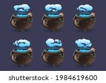 witch cauldron with blue... | Shutterstock .eps vector #1984619600