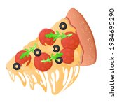 slice of pizza with melted... | Shutterstock .eps vector #1984695290