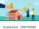 couple receiving a home... | Shutterstock .eps vector #1984704080