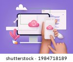 3d cloud computing upload and... | Shutterstock .eps vector #1984718189