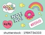 sticker  cute sticker vector... | Shutterstock .eps vector #1984736333