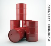 Red Oil Barrels Isolated On...