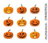 halloween pumpkin icon set....   Shutterstock .eps vector #1984839026