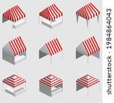 set isometric market stall ...   Shutterstock .eps vector #1984864043