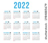calendar for 2022 on white... | Shutterstock .eps vector #1984885679