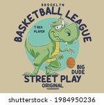 vector. dino basketball player... | Shutterstock .eps vector #1984950236