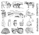cow and milk. hand drawing set... | Shutterstock .eps vector #198496973