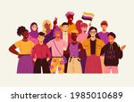group of non binary people....   Shutterstock .eps vector #1985010689