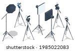 isometric video blogger... | Shutterstock .eps vector #1985022083