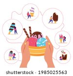 people with assorted ice cream... | Shutterstock .eps vector #1985025563