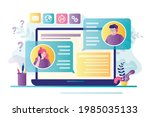 laptop screen with text...   Shutterstock .eps vector #1985035133