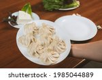 a dish of khinkali  a...   Shutterstock . vector #1985044889