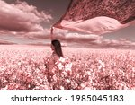 beautiful woman with wind... | Shutterstock . vector #1985045183