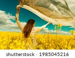 beautiful woman with wind... | Shutterstock . vector #1985045216