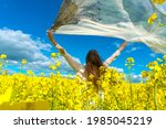 beautiful woman with wind... | Shutterstock . vector #1985045219