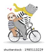 cute bear and sloth with... | Shutterstock .eps vector #1985113229